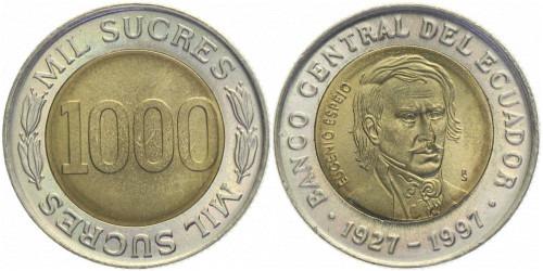 1000 сукре 1997 Эквадор — 70 лет Центробанку