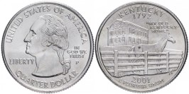 25 центов 2001 P США — Кентукки — Kentucky UNC