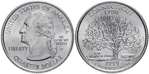 25 центов 1999 P США — Коннектикут — Connecticut UNC