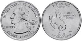 25 центов 2007 P США — Вайоминг — Wyoming UNC