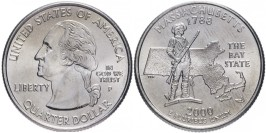 25 центов 2000 P США — Массачусетс — Massachusetts UNC
