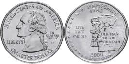 25 центов 2000 D США — Нью-Гэмпшир — New hampshire UNC