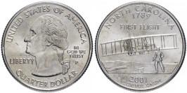 25 центов 2001 P США — Северная Каролина — North Carolina UNC