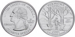 25 центов 2001 Р США — Вермонт — Vermont
