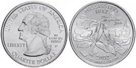 25 центов 2002 P США — Миссисипи — Mississippi UNC