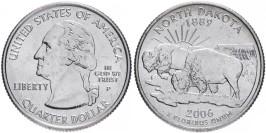 25 центов 2006 P США — Северная Дакота — North Dakota UNC
