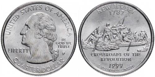 25 центов 1999 P США — Нью-Джерси — New Jersey UNC
