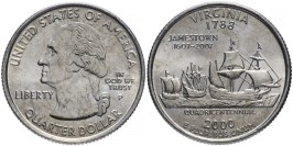 25 центов 2000 P США — Вирджиния (Виргиния) — Virginia UNC