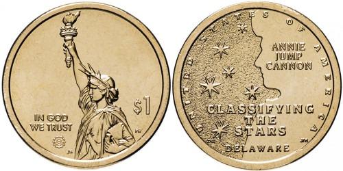 1 доллар 2019 P США UNC — Американские инновации — Классификация звезд — Энни Джамп Кэннон