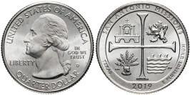 25 центов 2019 D США — Национальный Исторический Парк Миссии Сан-Антонио — San Antonio Missions UNC