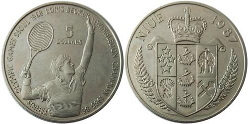 5 долларов 1987 остров Ниуэ — XXIV летние Олимпийские Игры, Сеул 1988 — Теннис, Борис Беккер