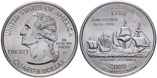25 центов 2000 D США — Вирджиния (Виргиния) — Virginia
