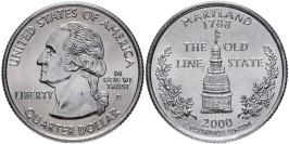 25 центов 2000 D США — Мэрилэнд — Maryland UNC
