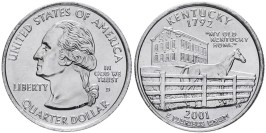 25 центов 2001 D США — Кентукки — Kentucky UNC