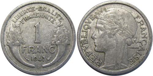 1 франк 1947 Франция — Отметка монетного двора: «B» — Бомон-ле-Роже