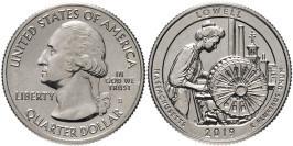 25 центов 2019 S США — Национальный исторический парк Лоуэлл — Lowell Park UNC