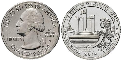 25 центов 2019 S США — Американский Мемориальный Парк — American Memorial Park UNC