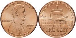 1 цент 2009 D США — 200 лет со дня рождения Авраама Линкольна — Президентство в Вашингтоне