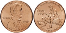 1 цент 2009 D США — 200 лет со дня рождения Авраама Линкольна — Юность в Индиане