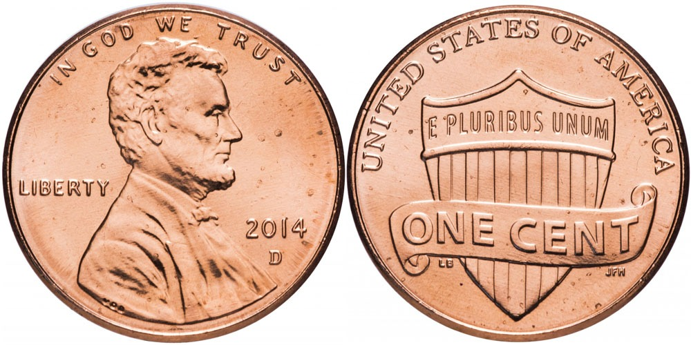 1 цент 2014 D США UNC