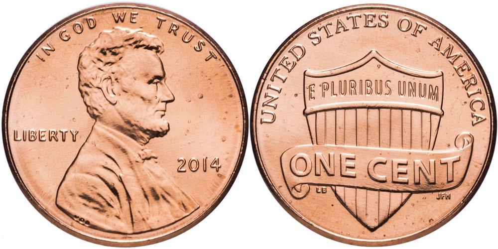 1 цент 2014  США UNC
