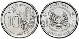 10 центов 2013 Сингапур UNC