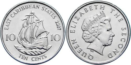10 центов 2007 Восточные Карибы
