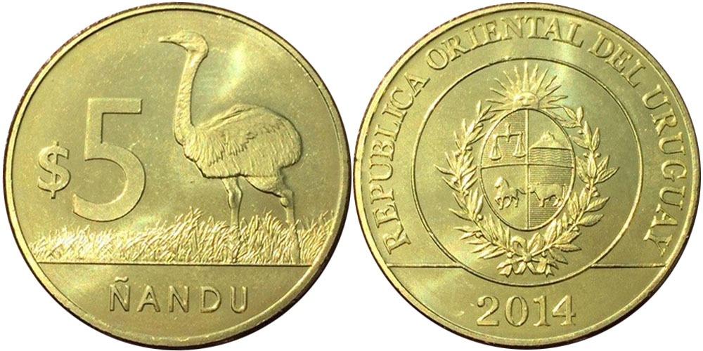 5 песо 2014 Уругвай — Американский страус Нанду