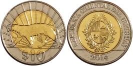 10 песо 2014 Уругвай — Пума UNC