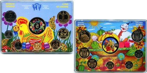 Годовой набор разменных монет 2014 Украина — Детские рисунки 2014 — Дитячі малюнки 2014 року