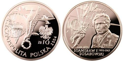 10 злотых 2004 Польша — Генерал Станислав Сосабовски (1892-1967) — серебро