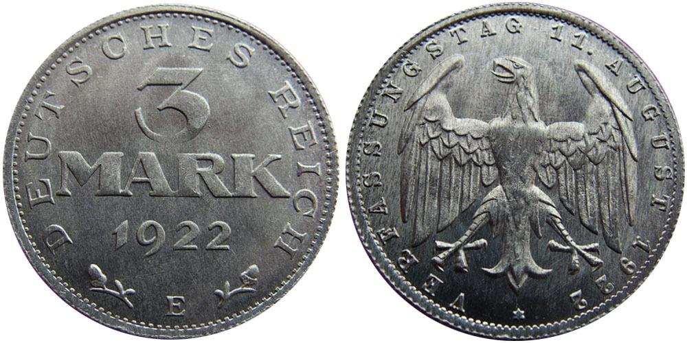 3 марки 1922 Германия — 3-я годовщина Веймарской конституции — Е