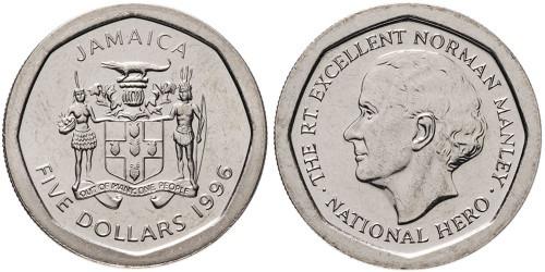5 долларов 1996 Ямайка