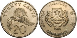 20 центов 1988 Сингапур