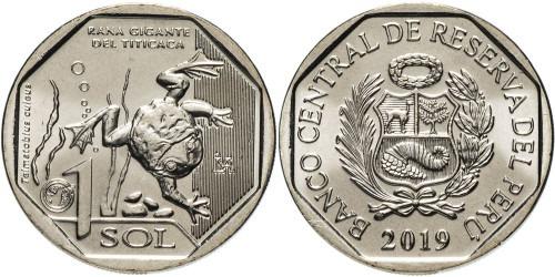 1 соль 2019 Перу — Фауна Перу — Водная лягушка Титикака UNC