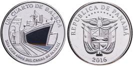 1/4 бальбоа 2016 Панама — 100 лет строительству Панамского канала — корабль (синий)