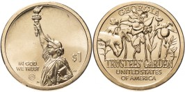1 доллар 2019 P США UNC — Американские инновации — Сад попечителей