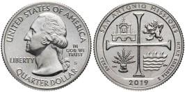 25 центов 2019 S США — Национальный Исторический Парк Миссии Сан-Антонио — San Antonio Missions UNC