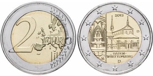 2 евро 2013 «D» Германия — Монастырь Маульбронн, Баден-Вюртемберг