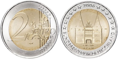2 евро 2006 «J» Германия — Голштинские ворота в Любеке, Шлезвиг-Гольштейн