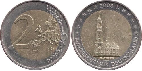 2 евро 2008 «F» Германия — Церковь св. Михаила, Гамбург