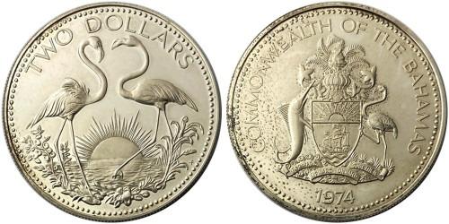 2 доллара 1974 Багамские Острова