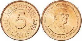 5 центов 2007 Маврикий UNC
