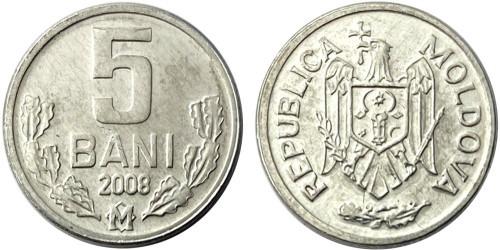 5 бани 2008 республики Молдова UNC