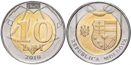 10 леев 2018 республики Молдова UNC