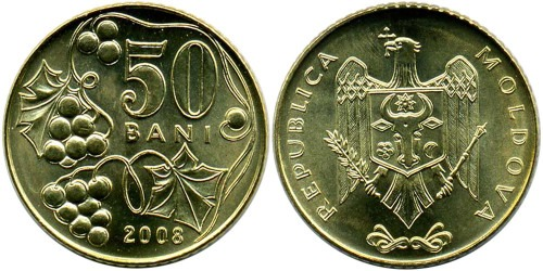 50 бани 2008 республики Молдова UNC
