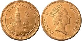 2 пенса 1995 Гибралтар — Отметка «AA» на реверсе