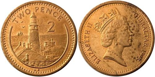 2 пенса 1995 Гибралтар — Отметка «AB» на реверсе