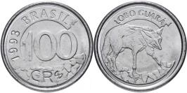100 крузейро реал 1993 Бразилия — Гривистый волк UNC