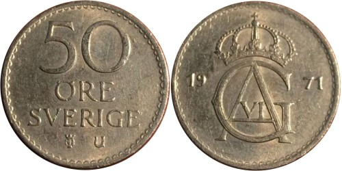 50 эре 1971 Швеция
